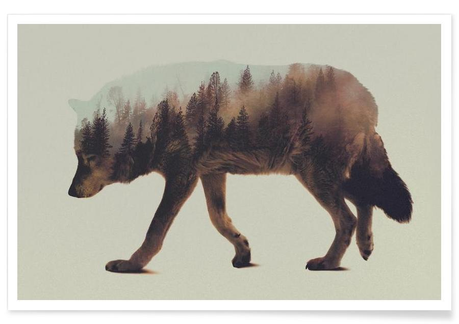 Wolves, Wolf Double Exposure Poster