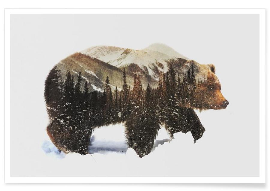 Arctic Grizzly Bear Double Exposure Poster