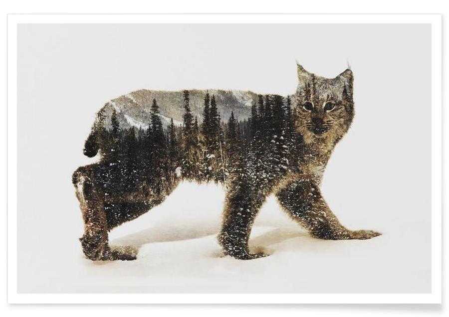 , Arctische lynx double exposure poster