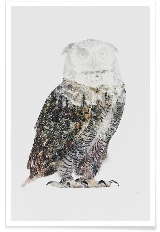 Uilen, Arctische uil double exposure poster