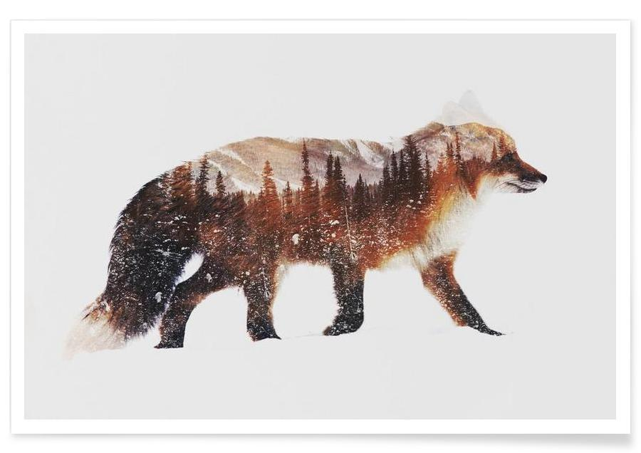 Foxes, Arctic Red Fox Double Exposure Poster