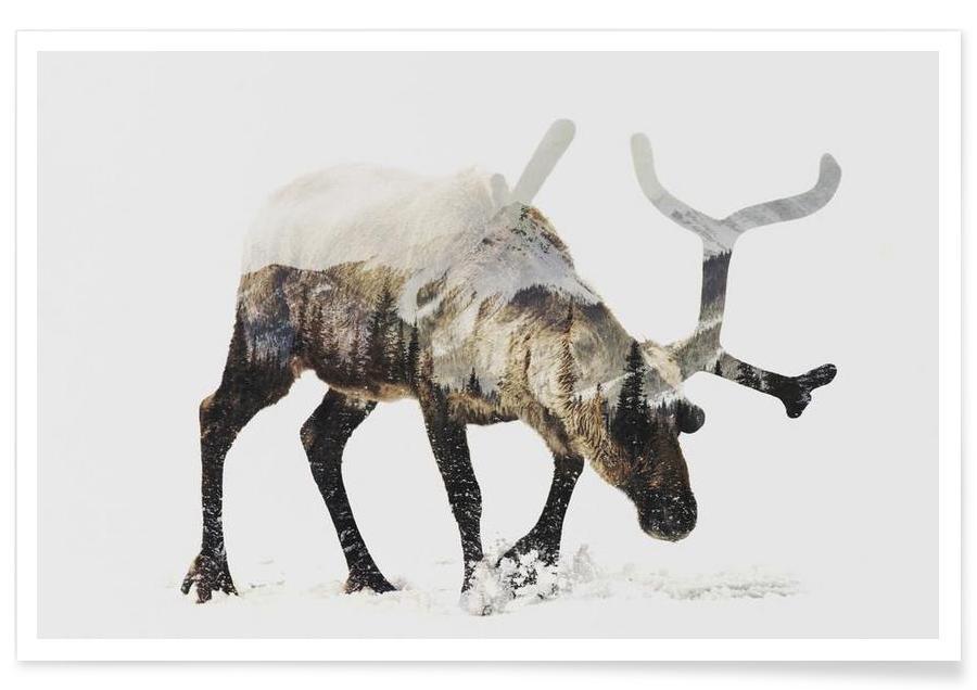 , Arktisches Rentier-Doppelbelichtung -Poster