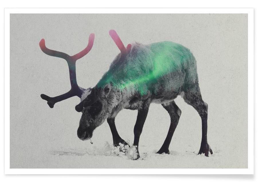 , Reindeer Double Exposure Poster