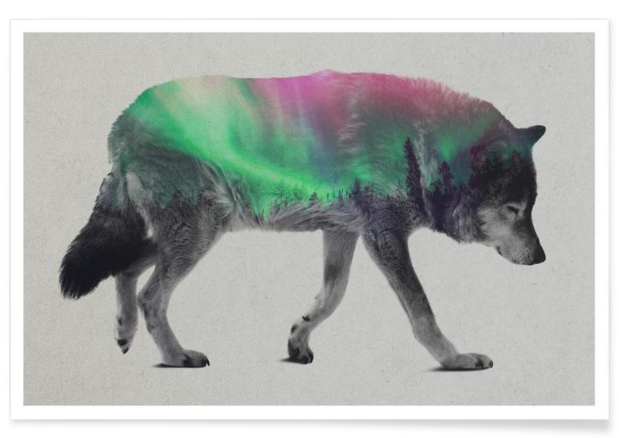 Wölfe, Wolf-Doppelbelichtung -Poster