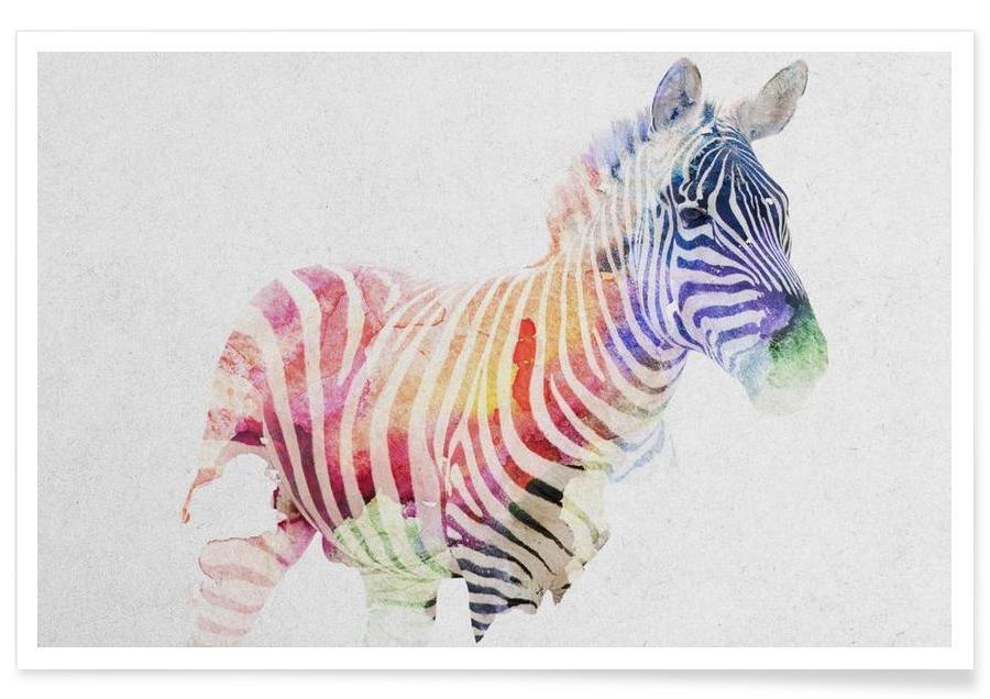 Zebra's, Kunst voor kinderen, Zebra double exposure poster