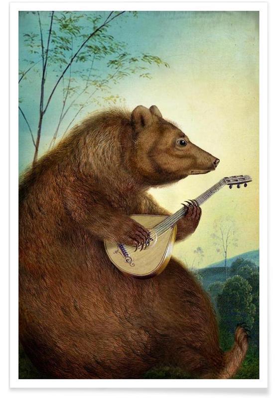 Art pour enfants, Mandolin Bear affiche