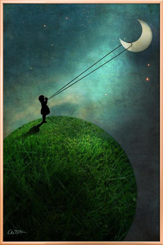 Chasing The Moon poster in aluminium lijst