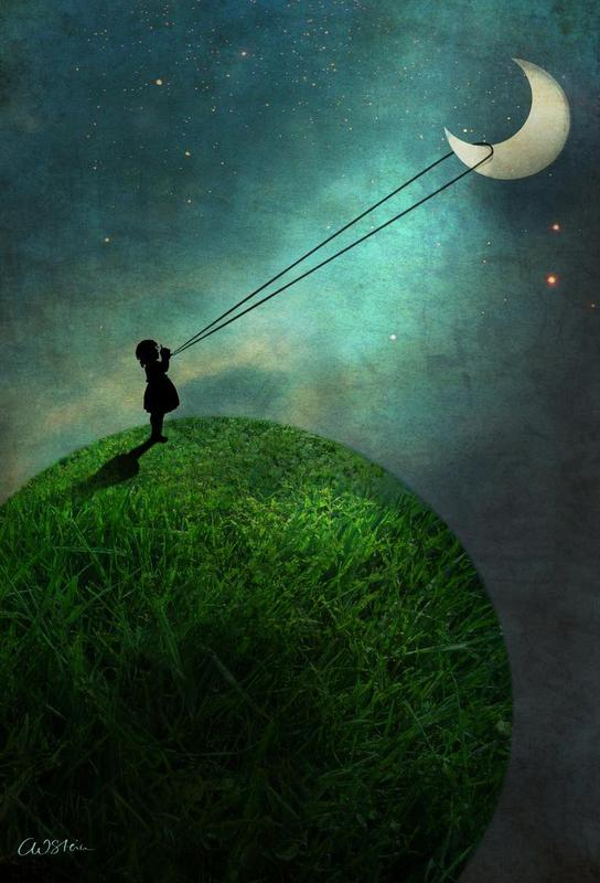 Chasing The Moon tableau en verre