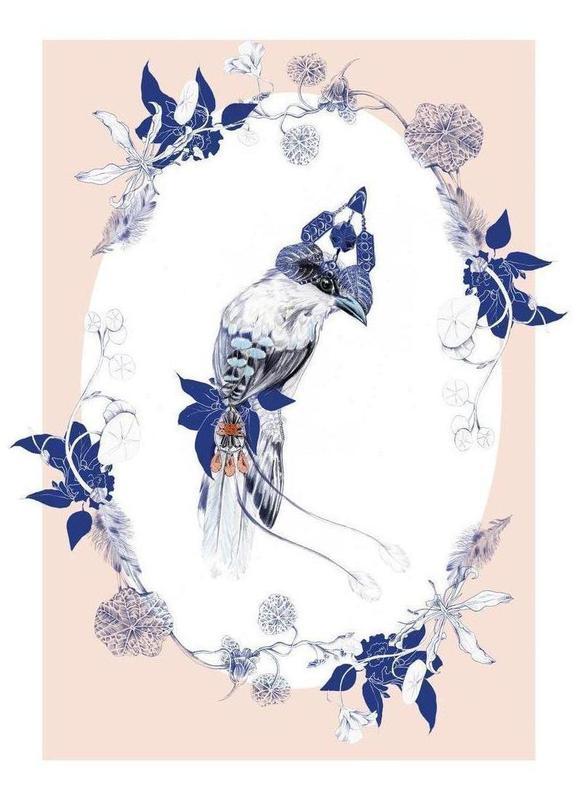 Magpie Bird Pink Canvas Print