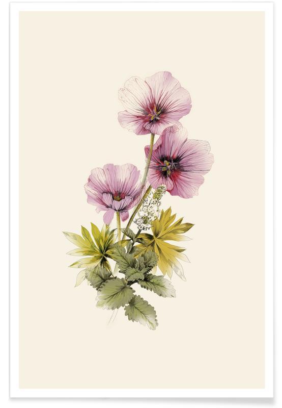 Geranium & Garden mint -Poster
