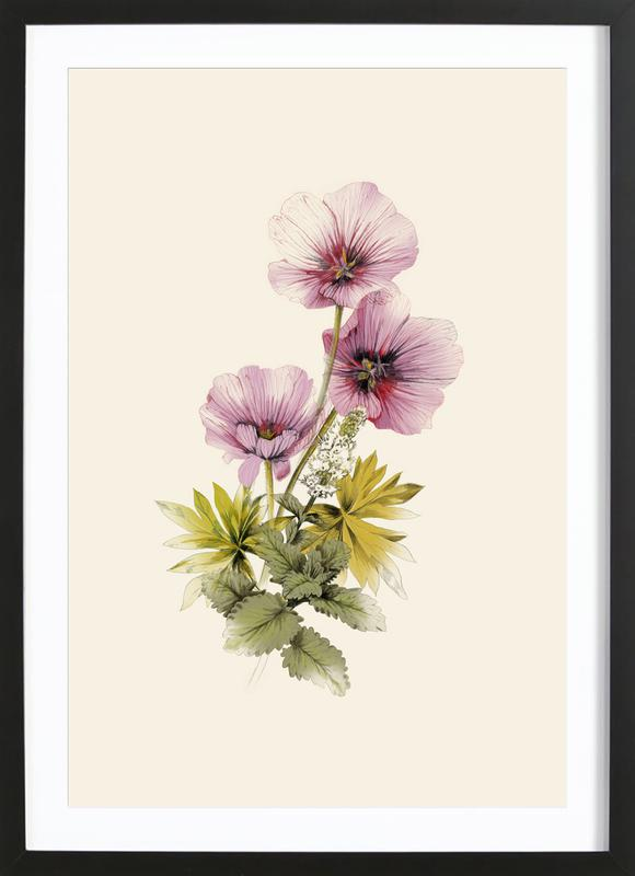Geranium & Garden mint -Bild mit Holzrahmen