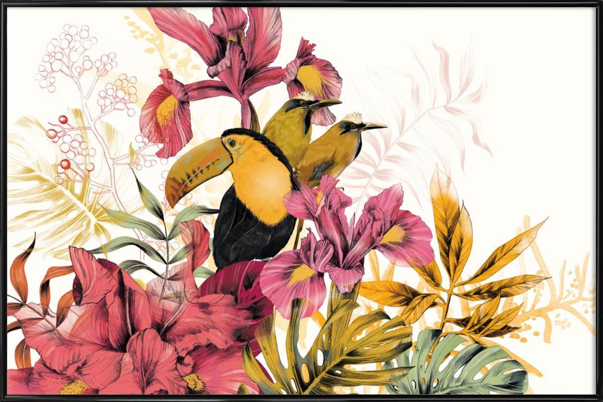 Tropical Garden Toucan -Bild mit Kunststoffrahmen