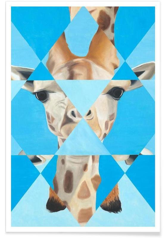 Girafes, Art pour enfants, Blue Giraffe affiche