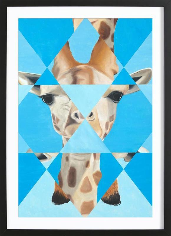 Blue Giraffe Framed Print