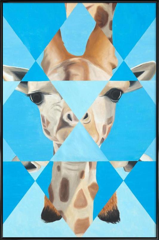 Blue Giraffe affiche encadrée