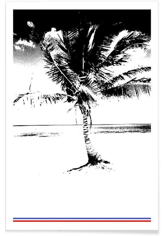 Noir & blanc, Palmiers, 80ish affiche