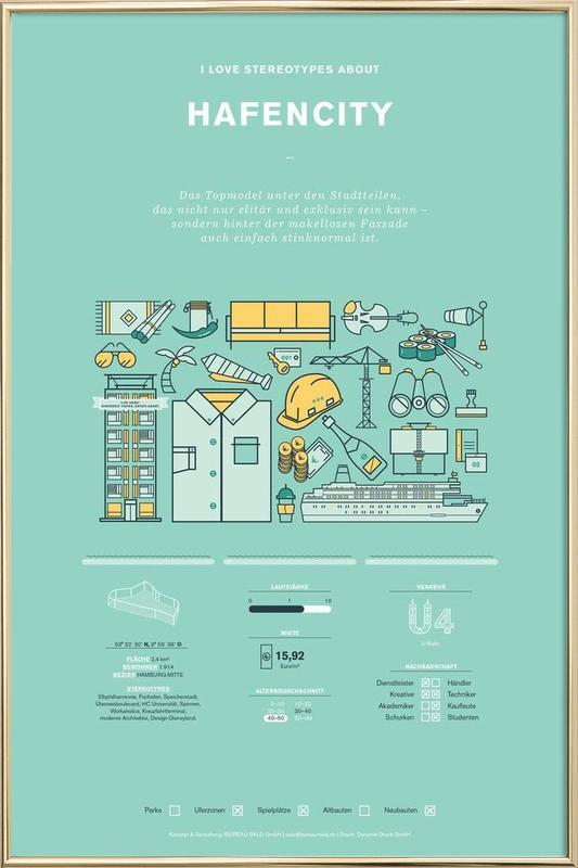 Hafencity -Poster im Alurahmen