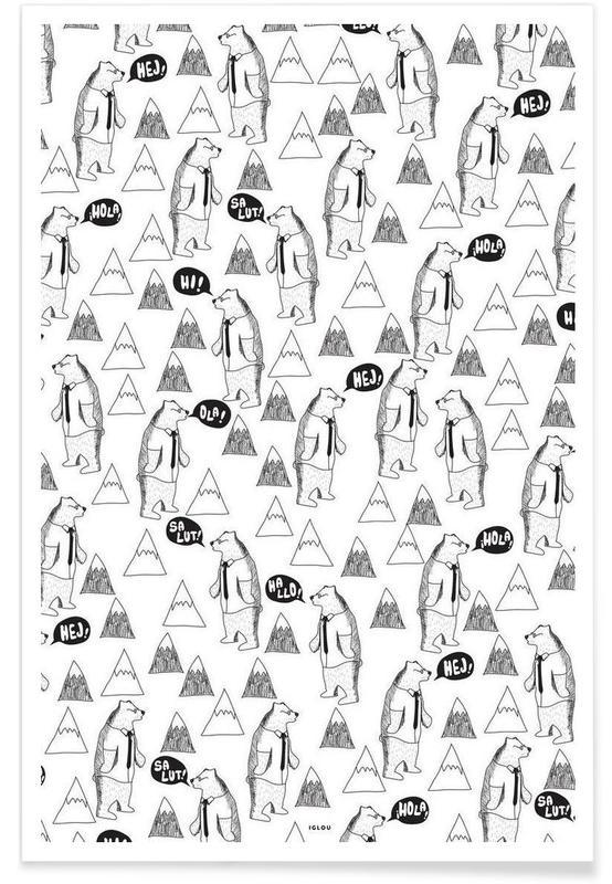 Zwart en wit, Kunst voor kinderen, Bears poster