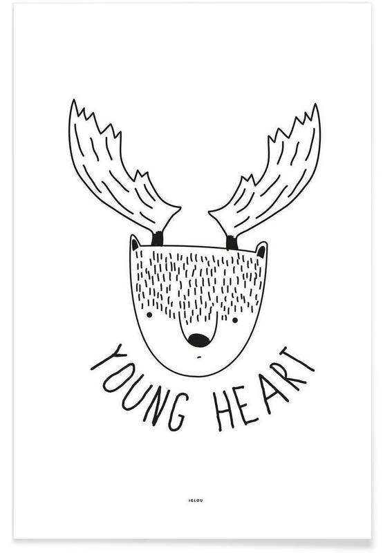 Black & White, Deer, Young Heart Poster