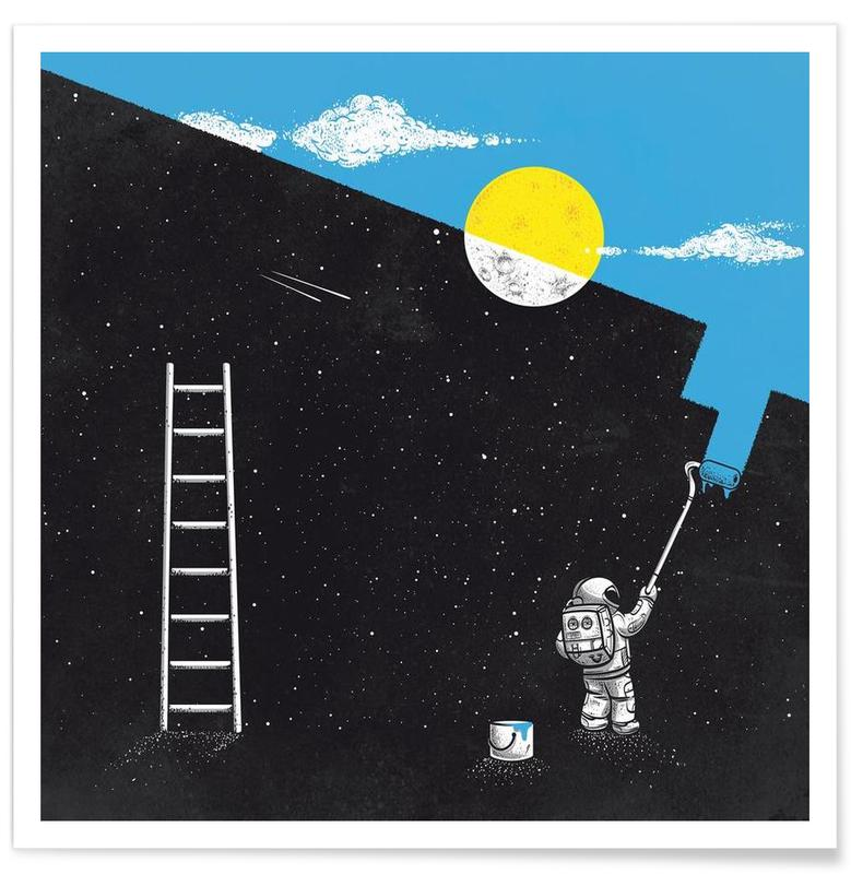 Astronauts, Funny, Street Art Style, Painting Day Poster