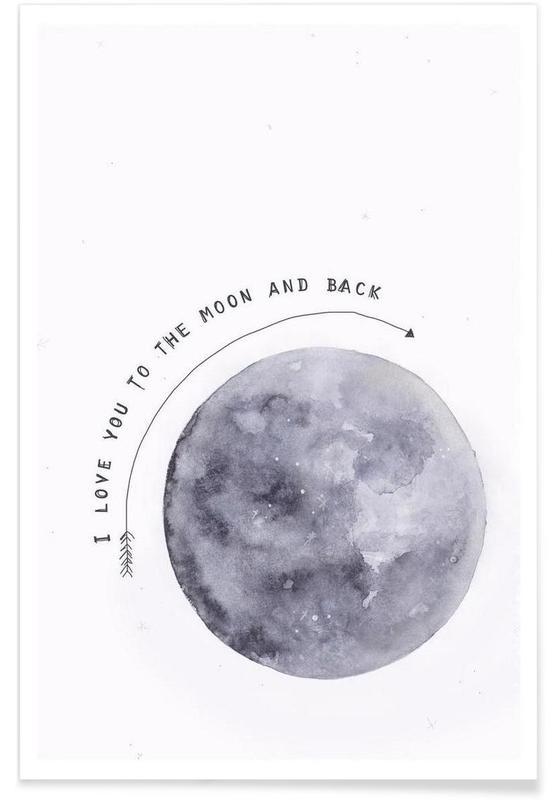 Noir & blanc, Lune, Moon affiche