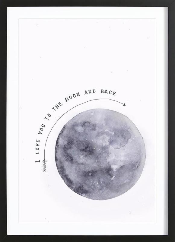 Moon -Bild mit Holzrahmen