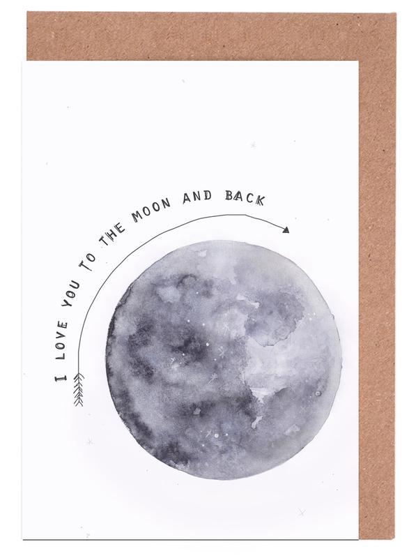 Schwarz & Weiß, Mond, Moon -Grußkarten-Set