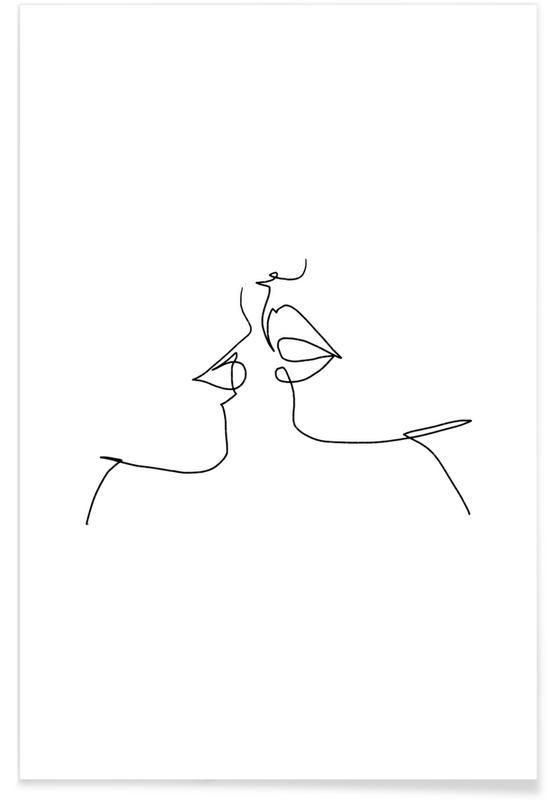 Sort & hvidt, Par, Oneline Kiss Plakat