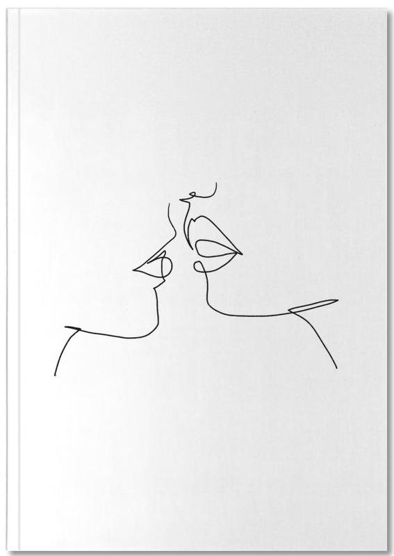 Black & White, Couples, Oneline Kiss Notebook