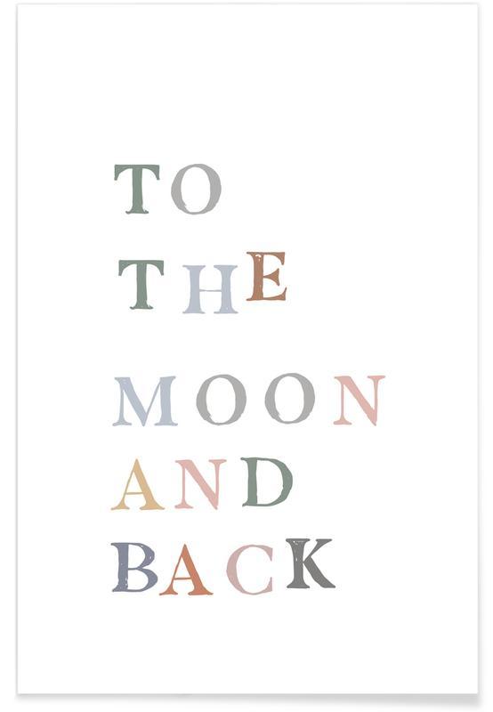 Citations d'amour, Art pour enfants, Anniversaires de mariage et amour, To The Moon and Back affiche