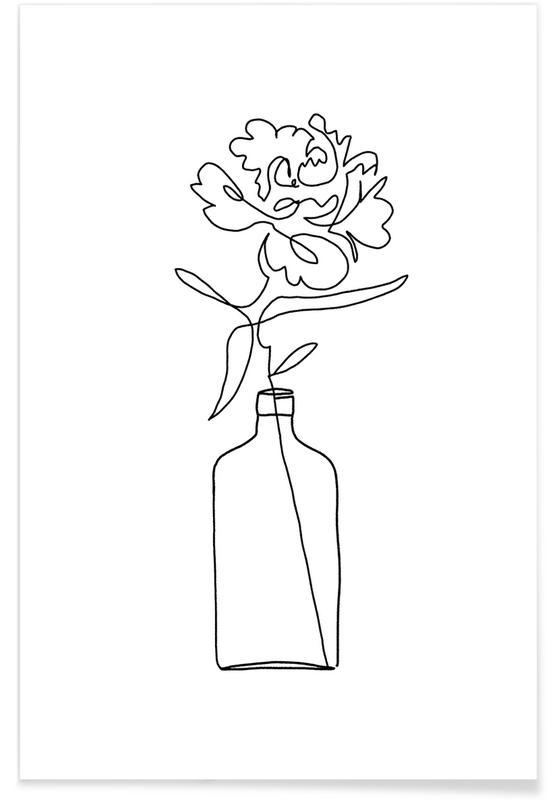 One Line Vase -Poster