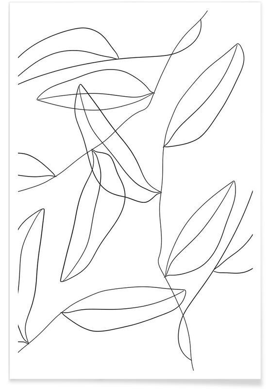 Schwarz & Weiß, Black Leaf Pattern -Poster