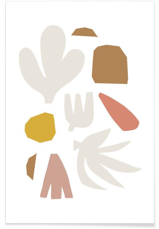 Bladeren en planten, Abstract Shapes No 1 poster