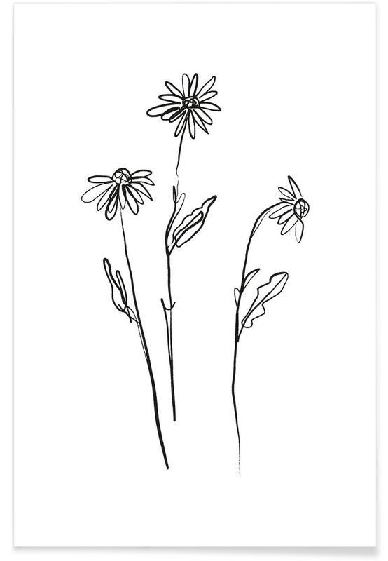 Zwart en wit, Loose Flowers poster