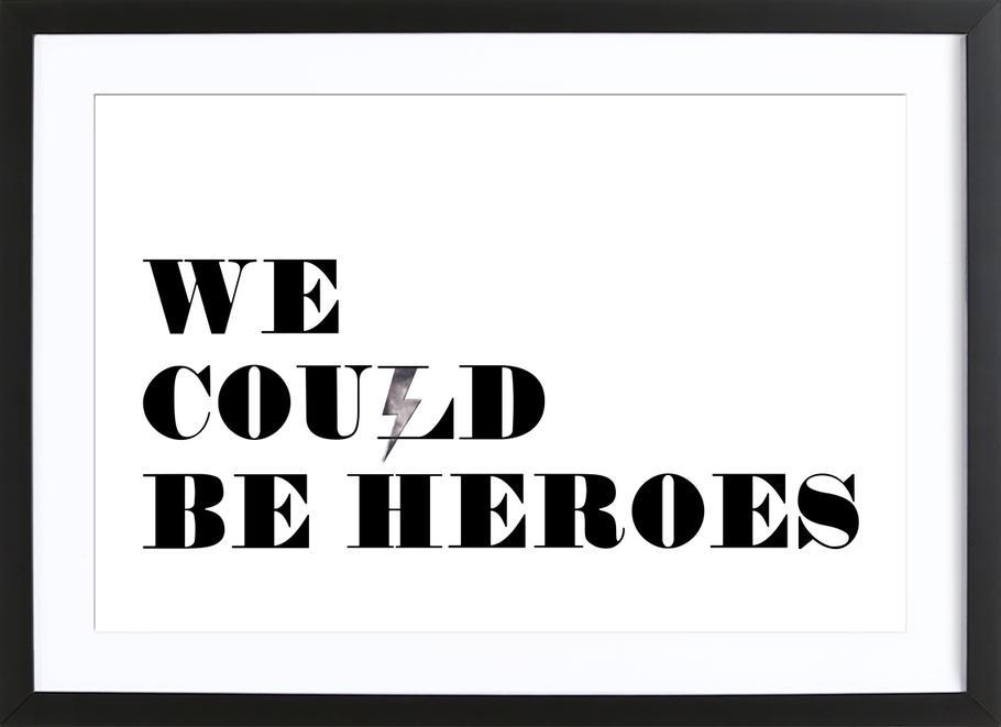 Heroes affiche sous cadre en bois