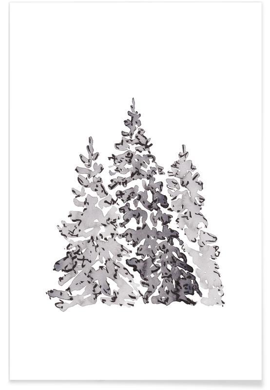Zwart en wit, Kerst, Bomen, Bomen poster