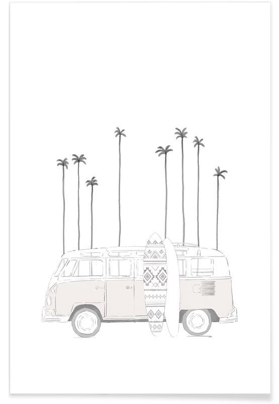 Noir & blanc, Voitures, Van affiche