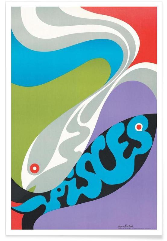 Poissons, Poissons vintage affiche