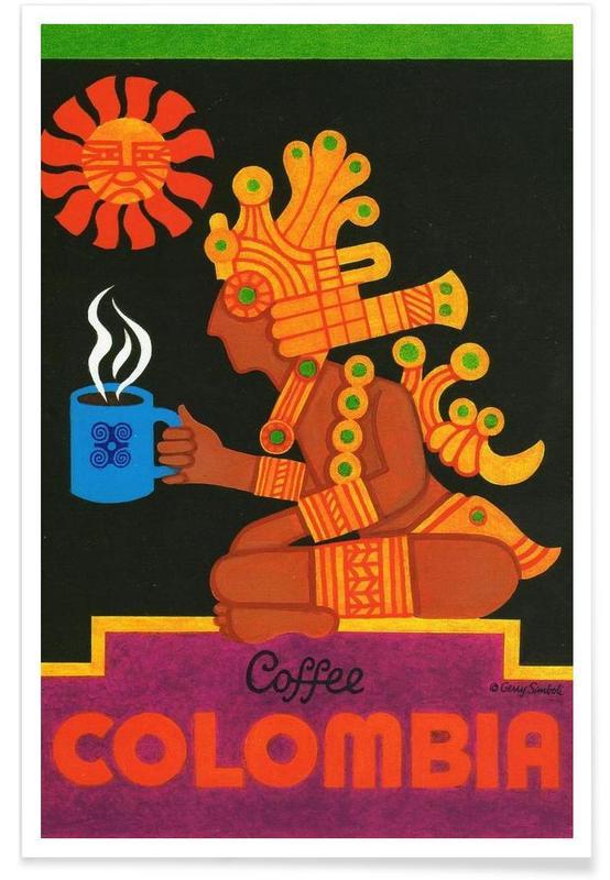 Voyages, Vintage, Café, Colombie vintage affiche