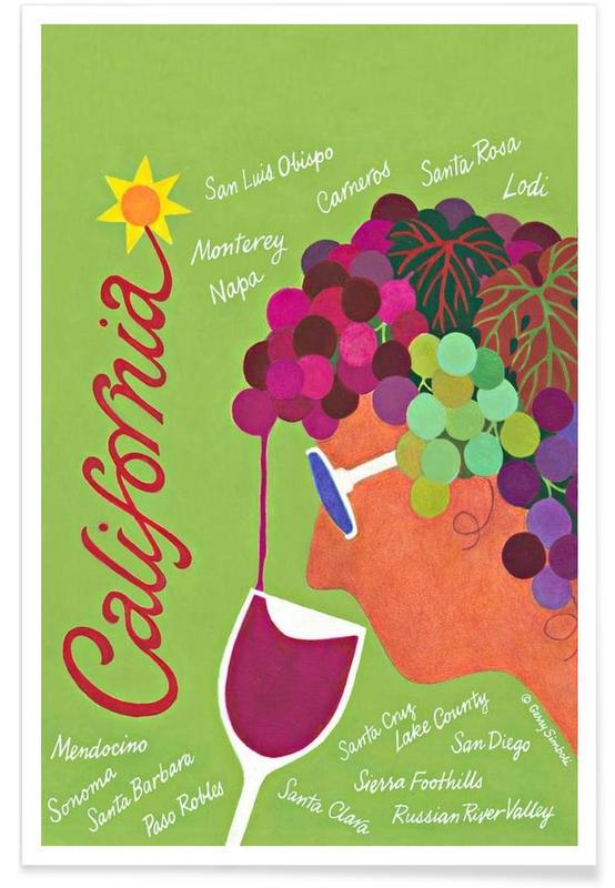Vins, Voyages, Californie vintage affiche