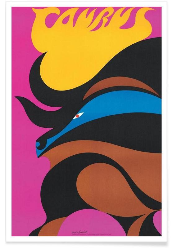 Rétro, Créatures et hybrides, Taureau vintage affiche