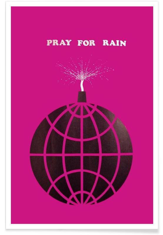 Humour, Priez pour la pluie vintage affiche