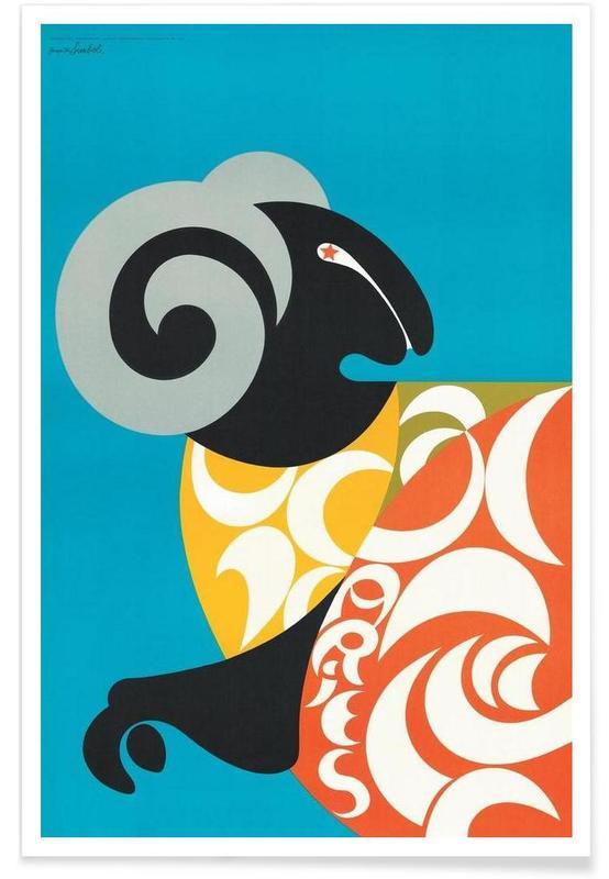 Vintage, Créatures et hybrides, Bélier vintage affiche