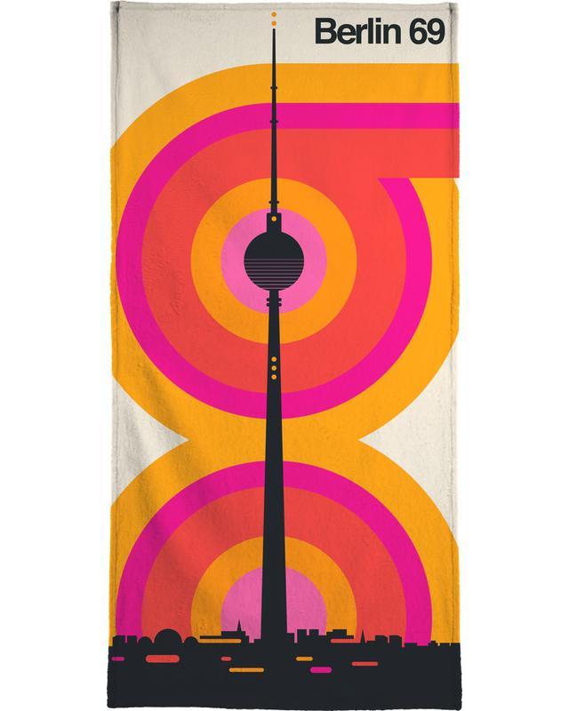 Retro, Berlin, Berlin 69 Bath Towel