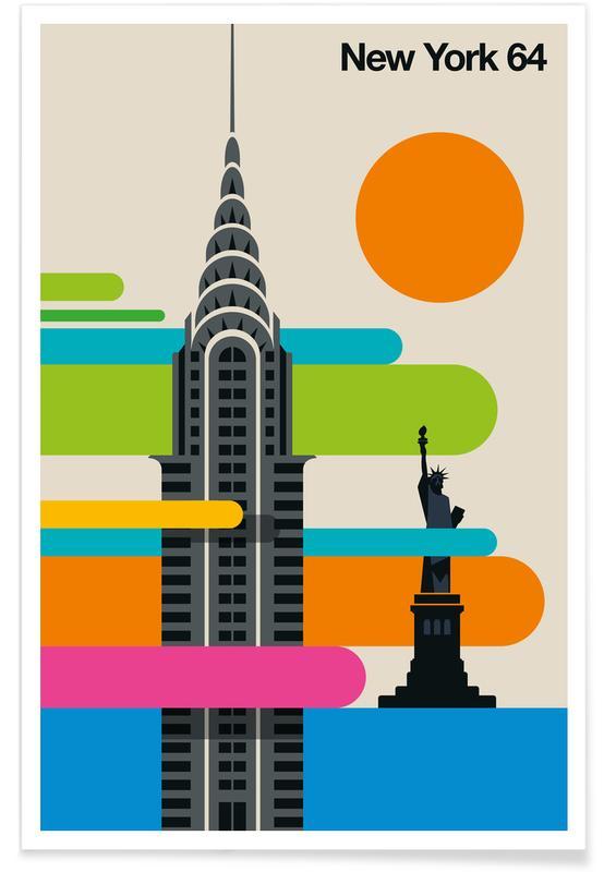New York, Voyages, New York 64 vintage affiche