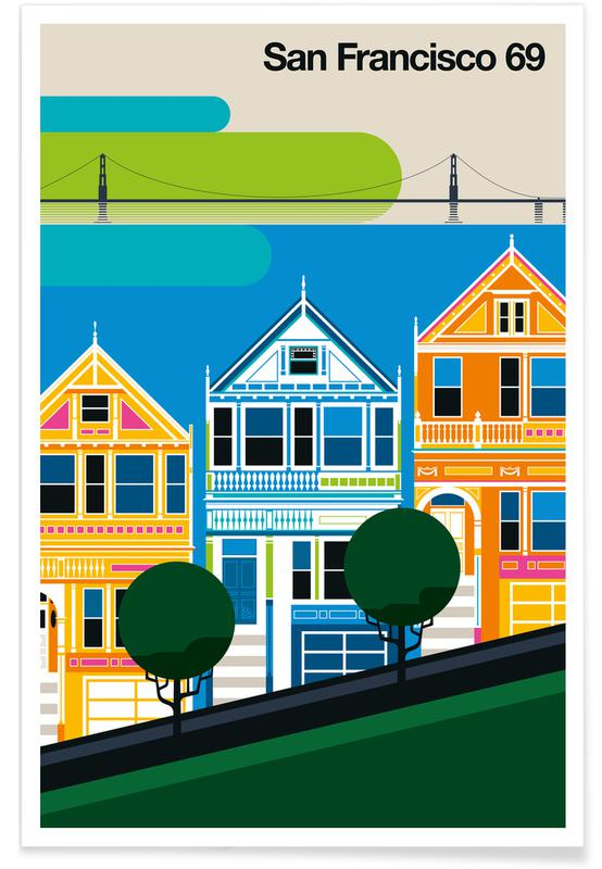 San Francisco, Reise, Vintage-San Francisco 69 -Poster