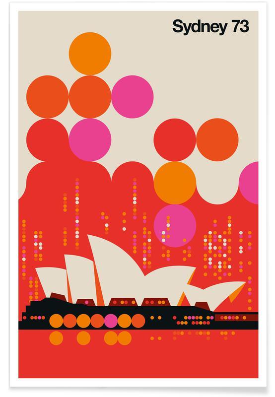 Rejser, Vintage Sydney 73 Red Plakat
