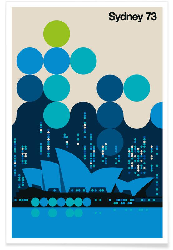 Vintage-Sydney 73-Blau -Poster