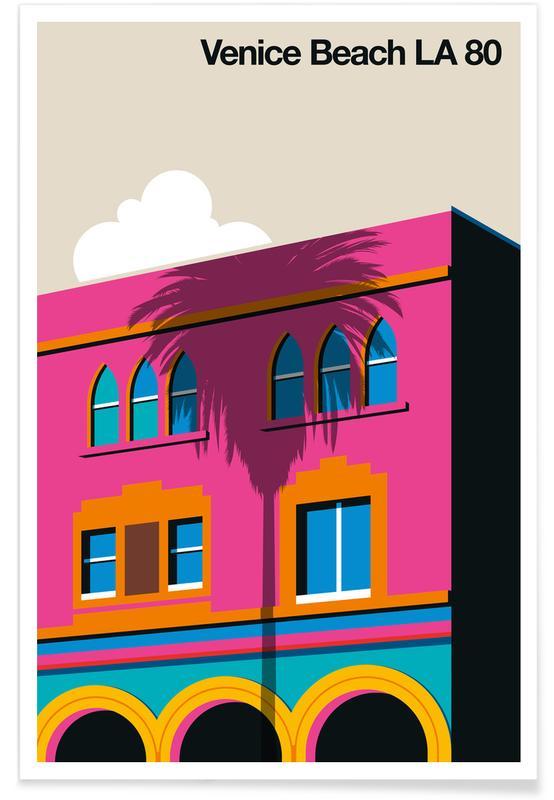Los Angeles, Venice, Travel, Vintage Venice LA 80 Poster