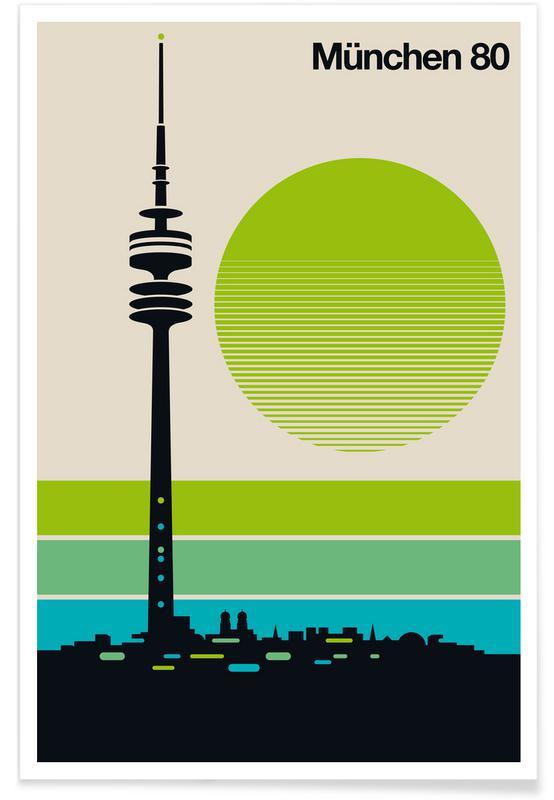 München, Retro, Vintage München 80 Plakat